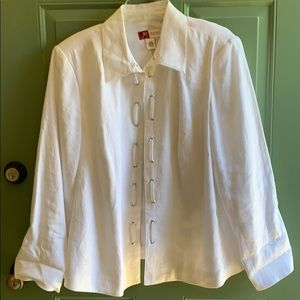 JM Collection White Linen lined jacket 16W